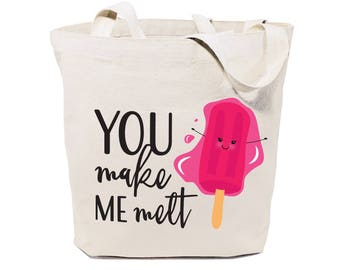 You Make Me Melt Cotton Canvas Reusable Grocery Bag and Farmers Market Tote Bag, Food Pun, Shopping, Funny Women's Gift, Valentine's Day