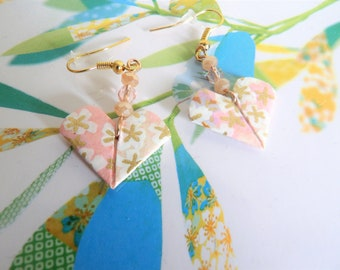 Pink heart Origami earrings white and gold