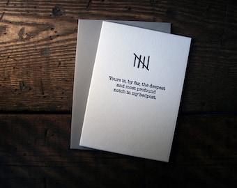 Letterpress (un)Valentine Card - Notches - single