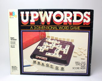 Vintage 1983 Upwords Game by Milton Bradley - #4312 Word Board Game - Complete - Family Night Spelling Scrabble - Made in the USA