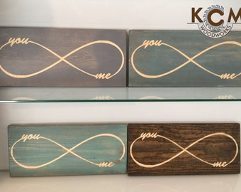 Infinity - You Me - Hand painted, Rustic Wood Sign, Distressed Sign, Home Wall Decor, Wood Stain Sign