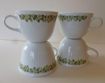 VINTAGE SET of Four Spring Blossom Cups, Vintage Pyrex, Vintage Corelle, Corning ware, Crazy daisy, Pyrex Mugs