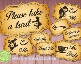 Alice In Wonderland Themed Candy Labels | Food labels | Sweet Labels |- 31 Designs