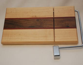 Handmade Maple, Walnut and Jatoba Cheese Slicer Cutting Board-