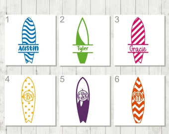 Surfboard Decal, Surfboard Monogram, Monogram Decal, Surfing Vinyl Decal