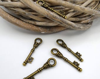 5 charm bronze metal keys