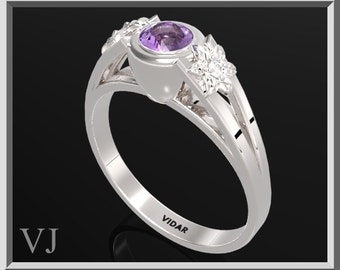Flower Engagement Ring,925 Sterling Silver Three Stone Flower Engagement Ring With Purple Amethyst,Unique Engagement Ring,Silver Ring