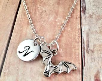 Bat necklace, personalized initial charm necklace, Bat charm necklace,  Austin Texas Jewelry, Lady Bird Lake, Halloween Jewelry, Batman