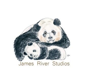 Panda Art Panda Painting Panda Print. Panda Watercolor Panda Baby Panda Nursery Art Mother Baby Painting Panda Cub Panda Decor Childrens Art