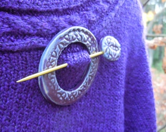 Shawl Pin Ultra violet Purple Sweater pin Pottery Handmade Scarf pin Gift for her