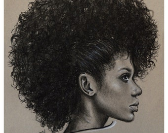 "JEREMY WORST "" FroHawk "" Sketch Artwork Signed Fine Art Print Great gift Afro girl woman natural"