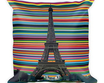 Eiffel Tower Paris themed Square Pillow by Carla Bank