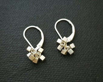 Tiny Sterling Silver Cube Cluster Earrings - french wire or leverback