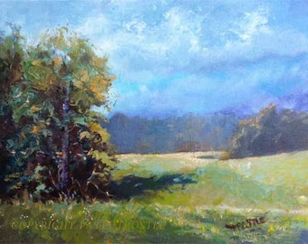 Original Oil painting canvas landscape field fields gift ideas art