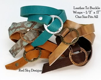 PACK of 4-12 Leather Wrap Tri Buckle Wrap Leather Bracelet Blank Wristband Leather Wrap Embossed Reptile  One Size Fits All Jewelry Design