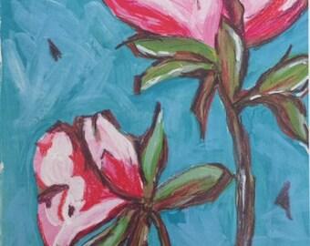 "Pink Flowers Art Print 8"" x 10"""