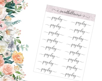 PAY DAY Word Planner Stickers / Functional Planner Stickers / ECLP / Planner Stickers