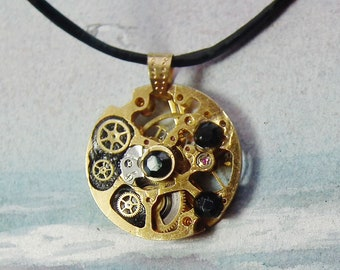 Steampunk pendant, rare goldcolor delicate mechanism, watch cogs, little watchmaking rubies, black resin & black Swarovski crystal cabochons