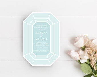 PRINTABLE Engagement Party Invitation | 'Emerald Cut'
