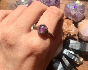 Amethyst Crystal Copper Electroformed Ring 8