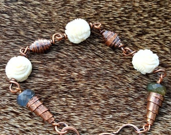 Handmade Pure Copper Bead bracelet with Hand Carved Bone Roses