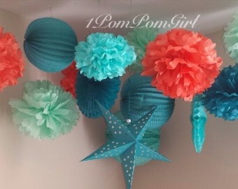 CORAL REEF / 8 tissue paper pom poms/3 paper lanterns / baby shower, birthday, wedding, bridal shower, nursery decor, back drop
