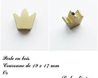 19 x 17 mm wooden bead, Pearl flat Crown: Gold