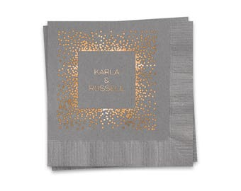 Personalized Wedding Napkins, Slate Gray Beverage Napkins, Rose Gold Shiny Metallic Foil Imprint Design Personalized With Couples Names