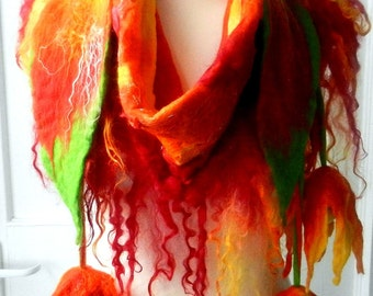 Felted, Wool Jewelry felted woman ART scarf  ,shawl-FLAME -5