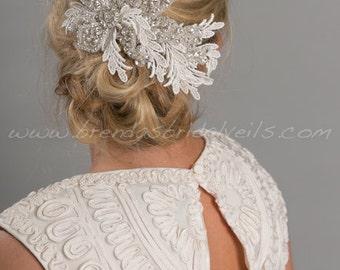 Bridal Lace Hair Comb, Rhinestone Wedding Headpiece, Lace Wedding Hair Comb - Sheneka