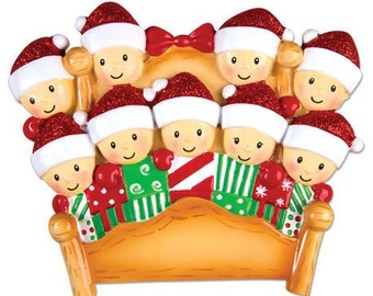 Personalized Christmas Family Bedheads Ornaments family of nine Grandparents gang, grandkids,friends co-workers