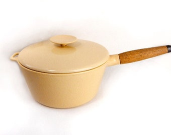 Copco deep sauce pan with lid in pale yellow enamel w/ teak handle vintage 1970s / cast iron pot /  enamelware / Michael Lax / Danish modern