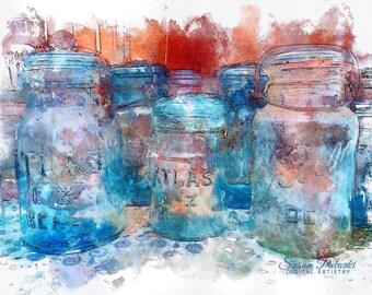 Vintage Jars, Ball jars, Atlas jars, original artwork, velvet giclee print framed, home decor