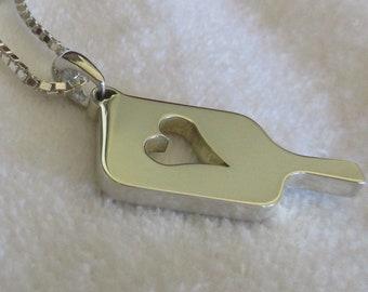 Sterling Silver Mega Heart Pickleball Pendant (Pb12-2h)