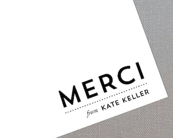 Merci  Personalized Thank You Flat Notes, Classic Black Set of 15