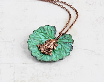 Little Frog Necklace, Small Frog Charm with Lily Pad Pendant on Antiqued Copper Plated Chain, Hand Patina Necklace, Nature Jewelry