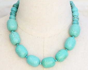 Chunky Turquoise Necklace Choker Necklace, Adjustable Length