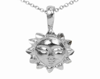 10k White Gold Sun Necklace