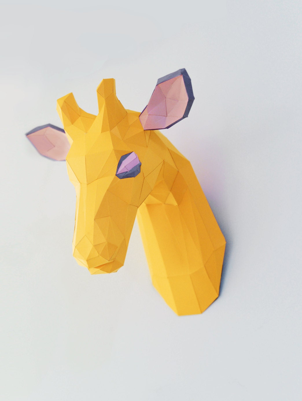 Giraffe Paper Head Trophy Wall Mount, Home Decor Faux Taxidermy DIY ...