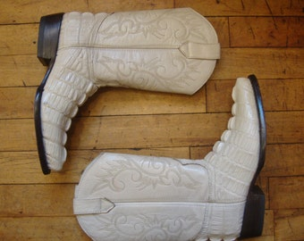Vintage Bone Leather and Faux Crocodile Western Cowboy Boots * Mexican