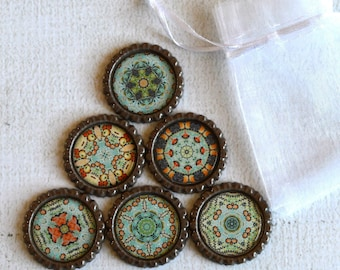 Kaleidoscope Magnets- Mandala Fridge Magnets- Refrigerator Magnets, Fridge Magnet,  Brown, Teal, Orange Magnets, Set of 6 with Gift Bag