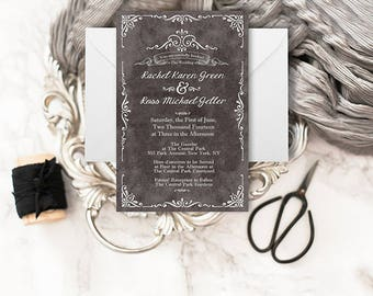 Formal Chalkboard Wedding Invitations with RSVP Cards | PRINTED Black Wedding Invitations