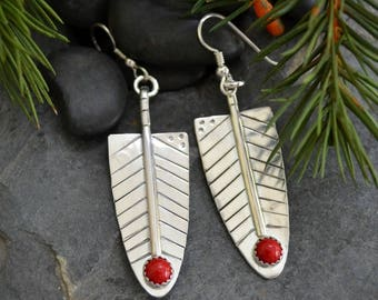 red feather earrings. solid sterling silver with red coral.  Christmas earrings