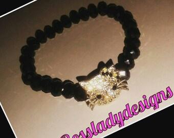 Kitty Face Beaded Bracelet