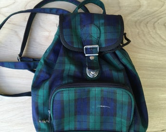 Small Backpack Blue Green Plaid Purse Day Pack