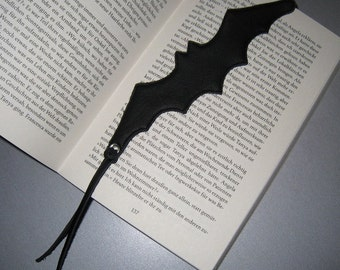 Bat bookmark black leather