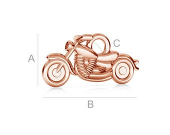 Motorcycle Sterling Silver Pendant Charm Gold Plated Gift 15 mm x 7.30 mm