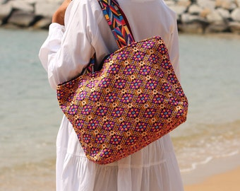 Stunning Bohemian Tote Bag Women's Tote Bag Summer Beach Bag  Hobo Bag Women's Shoulder bag Colorful bag Floral Bag Hippy Bag Boho Beach Bag
