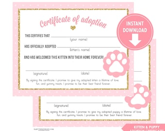 Pink vintage horse pony party adoption certificate printable pink and gold glitter kitten adoption certificates girl kitten cat kitty party kitten party yadclub Choice Image