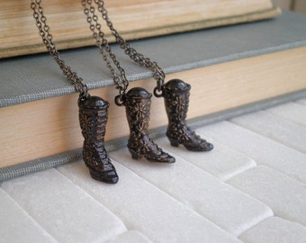 Witch Boot Charm Necklace - Vintage Avon Antique Boot Hand Painted Witch Pendant, Victorian Revival Mini Witches Boots Spooky Jewelry Gift